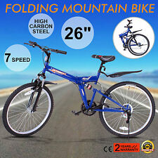 "26"" FOLDING MOUNTAIN BIKE 7 SPEED MTB BICYCLE HARDTAIL ALUMINUM FRAME MEN'S BIKE"
