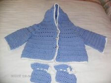 Brand new hand crochet baby boy hooded sweater and booties