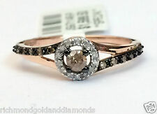 Champagne Diamond 14k Rose Gold Halo Engagement Ring Bridal Vintage Split Snak