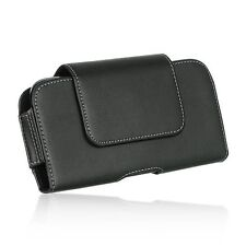 Horizontal Leather Pouch with Swivel Clip for Samsung Galaxy Note i717 - Black