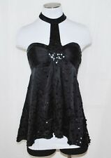 CHIC BeBe Silk Black Sequin Clubwear Dance Party Tie Halter Top Shirt Blouse S