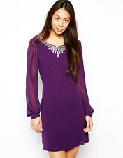 LIPSY CHIFFON  EMBELLISHED SHIFT DRESS PURPLE SIZE 6 BNWT