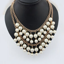 Vogue White Faux Pearl Gold Chain Cluster Chunky Choker Bib Statement Necklace