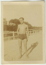 PHOTO ANCIENNE - HOMME TORSE NU OMBRE GAY - MAN SHADOW SLIP - Vintage Snapshot