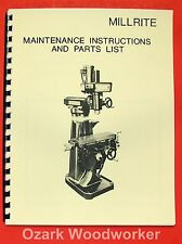 POWERMATIC Millrite Vertical Milling Machine Maintenance & Parts Manual 0878