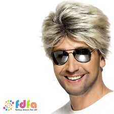1980s BLONDE SHORT GEORGE MICHAEL WHAM STREET WIG - mens fancy dress costume