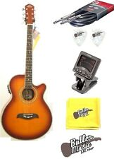 Oscar Schmidt OG10CEFYS Flame Sunburst A/E Guitar w/Clip-on Tuner + More!!!!
