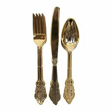 Party Porcelain Gold Disposable Cutlery Set