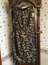 Talbots Dress Size 6 Gold Floral Black Sheath Cocktail Career Sleeveless
