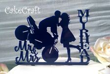 Navy Blue Acrylic Motorbike Mr & Mrs  Wedding,anniversary cake topper decoration