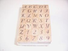Script Alphabet and Numbers Rubber Stamps, NIB