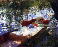 Two Women Asleep in a Punt  by John Singer Sargent Paper Print Repro
