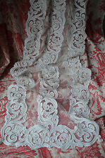 A pair of white work appliqué on filet net lace curtains, end 19th century