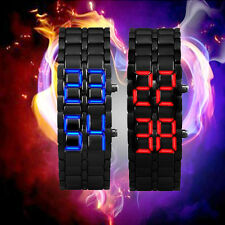 2Pcs Mens Womens Foxy Lava Iron Samurai Metal LED Faceless Bracelet Wristwatch