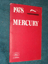 1978 MERCURY FULL-SIZE AND STATION WAGON OWNER'S MANUAL GOOD ORIGINAL GUIDE BOOK