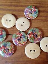 Stock lotto 25 bellissimi bottoni  colorati legno  diametro 2 merceria