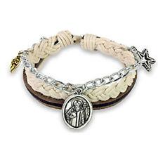 Brown Leather St. Benedict Bracelet Wristband Cuff K74