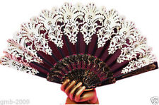 Spanish Style Black Wedding Party Lace Brocade Folding Hand Held Fan Flower