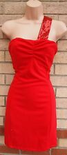 RAGE RED SEQUIN BEADED ONE SHOULDER TUBE BODYCON PARTY PENCIL TEA DRESS 16 XL
