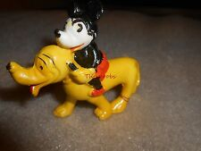 Vintage Mickey Mouse Riding Pluto Hard Rubber Figure