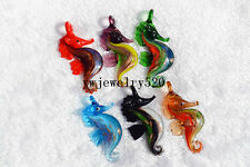 FREE Wholesale Bulk 12Pcs Animal seahorse Murano Glass Bead Pendant Fit Necklace