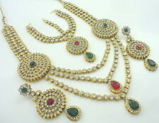 RANI GREEN CZ GOLD TONE RANI HAAR LONG NECKLACE SET BOLLYWOOD BRIDAL JEWELRY