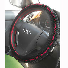 Black/Red Ice Silk DIY Car Steering Wheel Cover 36-38CM With Elastic Best Match