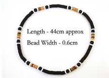 Black White Wood Bead Necklace Beach Surf Natural Mens Womens Tribal Funky New
