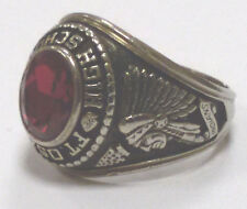 College Ring High School FT Osage 1972 10 K White Gold Josten's Gr. 64 (11 USA)