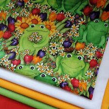 Frogs in The Garden Floral Green Cotton Print Fabric by Timeless Treasures