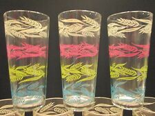 10x Vintage Kitchen Glasses Tumblers WHEAT Pink Turquoise Lime ++ Retro Pyrex