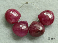 Natural Ruby Faceted HEart Briolette Gemstone Beads