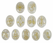 Crystal Clear Quartz Oval Shape 11 Pieces Set Karuna Reiki Symbol Spiritual