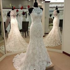 Lace Applique Bridal Wedding Gown White Ivory Long Beach High Neck Dress Mermaid