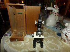 Vintage Milben Microscope & Dovetail Wood Case W/ Accessories 150X - 750X child