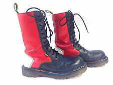 terrific DR MARTENS red white blue leather Air Wair 14 eye ENGLAND  boots 5 UK