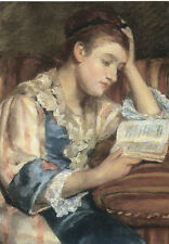 Postkarte: Mary Cassatt - Mrs. Duffee seated on a striped sofa, reading