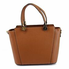 Luxury Italian Leather Ladies Handbags -  Cognac Shoulder Handbag With Gold Trim