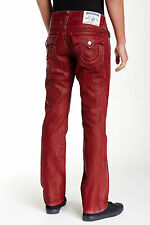 NWT TRUE RELIGION JEANS $268 RED STRAIGHT FLAP MENS JEANS IN COALWOOD SZ 36