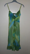 Morgan De Toi Lined Dress Size 8 Green Blue Chiffon Ruffled Frill Strappy Party
