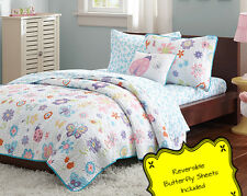 Kids LadyBug Butterfly Quilt Set w Sheets 6 Pc Twin Girls Animal Print Bedding