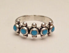 VINTAGE PETIT POINT TURQUOISE NAVAJO SMALL STERLING SILVER 925 RING SIZE 6.75 AA