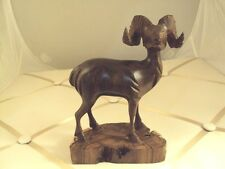 Big horned Ram mountain sheep Ironwood wood hand carved figurine Mexico carving