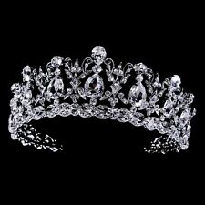Silver Clear Rhinestone CZ Quinceanera Prom Sweet 15 or 16 Bridal Tiara Crown
