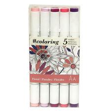 #Coloring Twin Tip marcadores, 5 diseños florales de colores para Johanna Basford