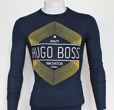 Mens Hugo Boss Long Sleeve T-Shirt,Crew Neck, 100% Cotton,Navy,Slim, XL, BNWT