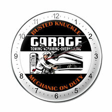 Busted Knuckle Garage Mechanic on Duty USA Uhr Wanduhr Werkstatt Blechuhr Clock