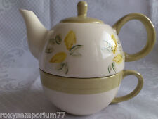 Tea for One - Stacking Teapot, Cup and Saucer Lemons Lemon Tea New