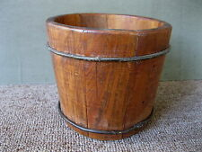Antique Dry Measure Primitive Country Small 1 Qt Round Grain Bucket Wire Bands