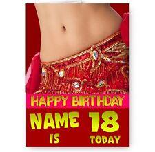 Personnalisé nom, âge, danseuse du ventre, A5, joyeux anniversaire carte,